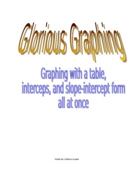 Graphing Linear Equations with all different methods