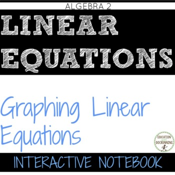 Graphing Linear Functions Color Coded Interactive Notebook Algebra 2