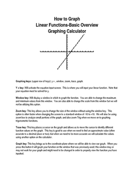 Graphing Linear Functions on the Graphing Calculator Basic Overview