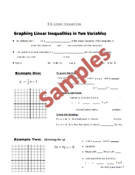 Graphing Linear Inequalities Guided Notes, Powerpoint, Homework Included