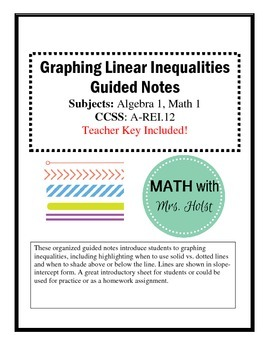 Graphing Linear Inequalities Guided Notes