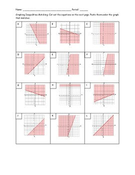 Graphing Linear Inequalities Matching