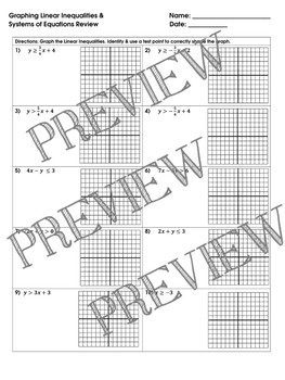 Graphing Linear Inequalities Systems Of Equations Review Worksheet