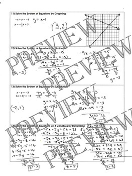 Graphing Linear Inequalities & Systems of Equations Review Worksheet