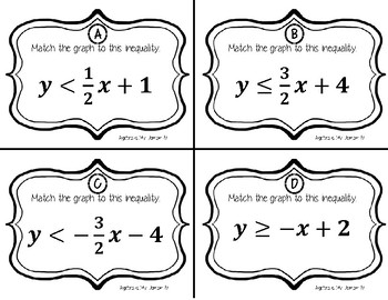 TASK CARDS / MATCHING ACTIVITY - Algebra - Graphing Linear Inequalities