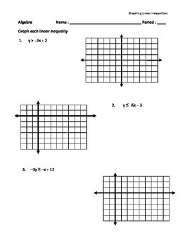 graphing linear inequalities worksheet - Graphing Linear Inequalities Worksheet