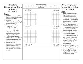 Graphing Linear Inequalities with and without a calculator