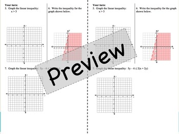 Graphing Linear Inequality foldable Notes for Interactive Notebooks
