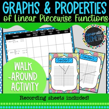 Graphing Linear Piecewise Functions Walk Around Activity; Algebra 2