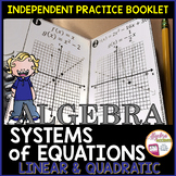 Graphing Linear and Quadratic Systems of Equations Practice Foldable Booklet