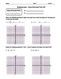 Graphing Lines Slope-Intercept Form Classwork
