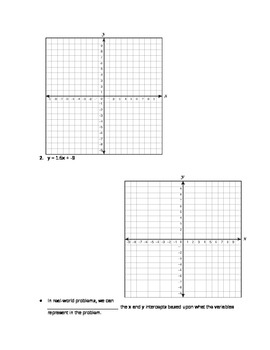 Graphing Lines Using Intercepts Guided Notes