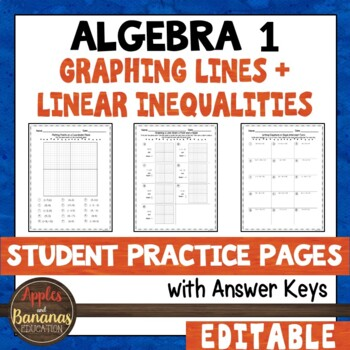 Graphing Lines and Linear Inequalities - Student Practice Pages