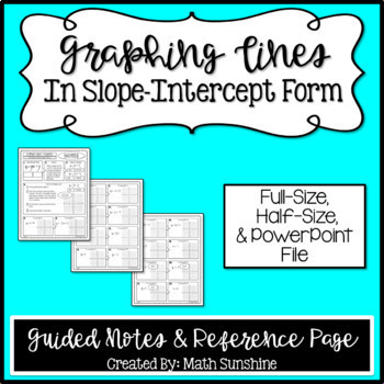 Graphing Linear Equations In Slope Intercept Form Guided Notes
