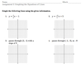 Graphing Lines practice sheet