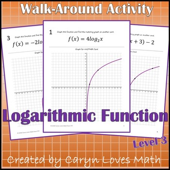 Graphing Logarithmic Functions Walk Around Activity Level 3