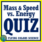Graphing Mass, Speed vs Kinetic Energy QUIZ NGSS MS-PS3-1 MS-PS2-2