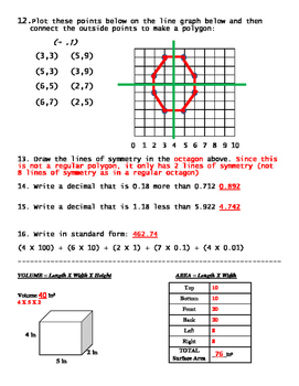 Graphing, Mixed Number Computation, Rotations,  Symmetry, Volume, Surface Area
