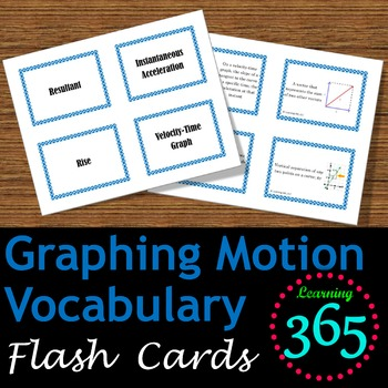 Graphing Motion Vocabulary Flash Cards
