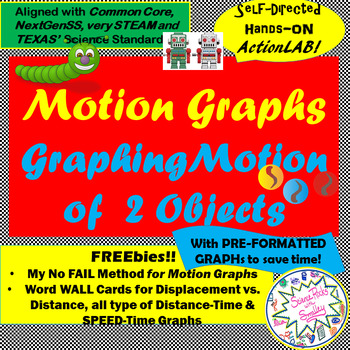 Graphing Motion of 2 Objects ActionLAB! 2 options-Displacement or NOT w/Extras!