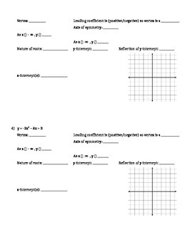 Graphing Non-Factorable Quadratics in Standard Form - Assignment