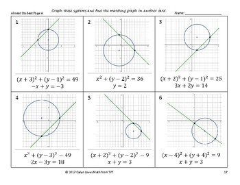 Graphing Nonlinear Systems of Equations~Linear~Circles~Standard Form~ Activity