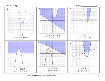 Graphing Nonlinear Systems of Inequalities~Linear~Quadratic~Walk Around Activity