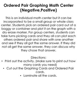 Graphing Ordered Pairs Center (Negative,Positive)