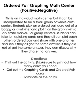 Graphing Ordered Pairs Center (Positive,Negative)