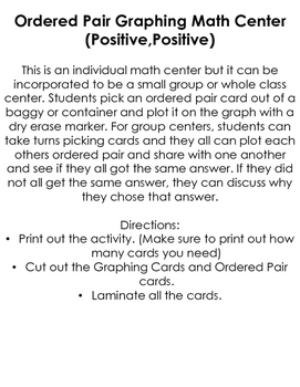 Graphing Ordered Pairs Center (Positive,Positive)