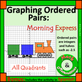 Graphing Ordered Pairs (Halves)-Four Quadrants of the Coordinate Plane-Bilingual