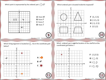Graphing Ordered pairs-Task Cards and Full Page Coordinate Grid (Plane)