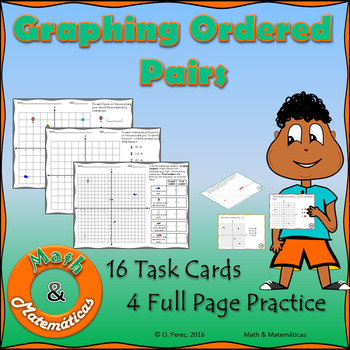 Graphing Ordered pairs-Task Cards and Full Page Coordinate