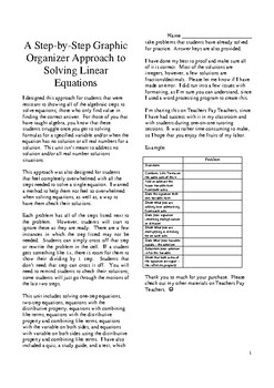 Graphing Organizer Approach to Solving Equations Unit pdf version