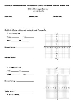 Graphing Parabolas by Identifying Vertex and Intercepts