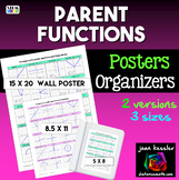 Algebra Parent Functions Reference Sheet and Posters for Bulletin Board 3 sizes