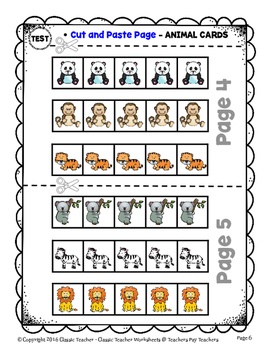 Graphing - Picture Graphs - Cut and Paste - Kindergarten - Worksheets/Test