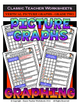 Graphing - Picture Graphs (Vertical) - Grade Two (2nd Grade) - Worksheets/Test