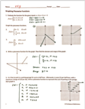 Graphing Piecewise Functions - Notes and Practice BUNDLE
