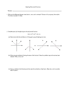 Graphing Polynomials Group Activity Worksheet