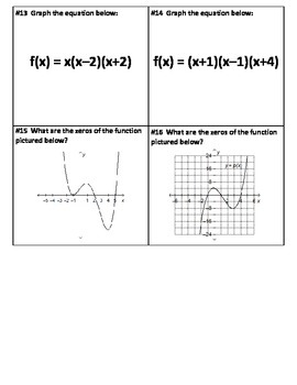 Graphing Polynomials Task Cards
