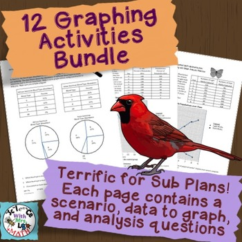 Graphing Practice Bundle: 12 Pages to Graph with Analysis Q's - Great Sub Plans!