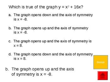 Graphing Quadratic Equation Review Game