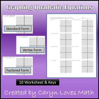 Graphing Quadratic Equation/Function~10  Worksheets~Key~St