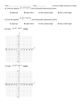 Graphing Quadratic Equations Exam