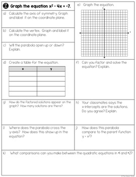 Graphing Quadratic Equations (Standard Form) - Worksheets