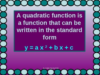 Power-point:  Graphing Quadratic Functions in Algebra with GUIDED NOTES