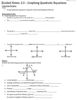 Graphing Quadratic Equations in Vertex Form - Notes