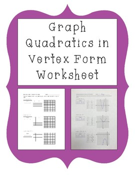 Graphing Quadratic Equations in Vertex Form Worksheet