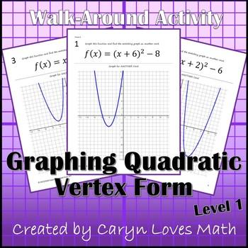 Graphing Quadratic Equations in Vertex Form~Walk-Around Activity- Level 1